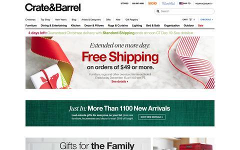 Screenshot of Home Page crateandbarrel.com - Furniture, Home Decor and Wedding Registry | Crate and Barrel - captured Dec. 15, 2015