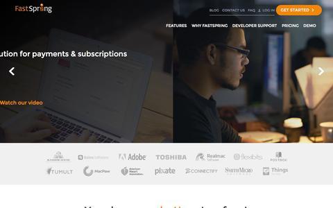 Screenshot of Home Page fastspring.com - FastSpring - Global E-Commerce Platform for Software and SaaS - captured Oct. 2, 2015