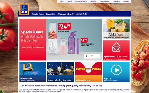 Screenshot of Home Page aldi.com.au - Discount supermarket offering smarter shopping - ALDI Australia - captured Sept. 18, 2014