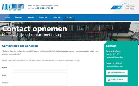 Screenshot of Contact Page aluverre.nl - Contact • Aluverre Gevelbouw - captured Nov. 20, 2016
