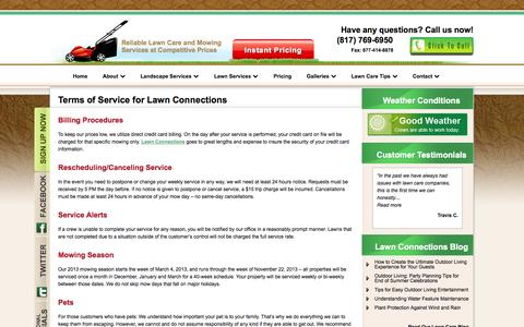 Screenshot of Terms Page lawnconnections.com - Terms of Use | Lawn Connections - captured Oct. 2, 2014