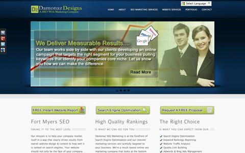 Screenshot of Home Page damonazdesign.com - Fort Myers SEO Company | Naples SEO Company | Web Design - captured Oct. 5, 2014