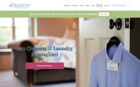 Screenshot of Home Page mulberryscleaners.com - Dry Cleaning & Laundry - Pickup & Delivery | Mulberrys - captured Nov. 17, 2018