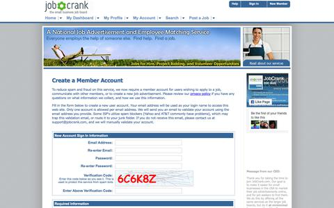 Screenshot of Signup Page jobcrank.com - Create a Member Account | Post Jobs for Free. Find Local Jobs. | JobCrank.com - captured Oct. 16, 2017