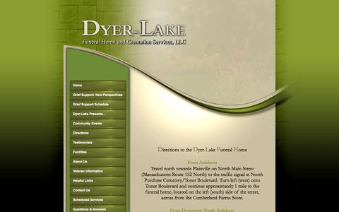 Screenshot of Maps & Directions Page dyer-lakefuneralhome.com - DYER-LAKE FUNERAL HOME - captured Sept. 30, 2014