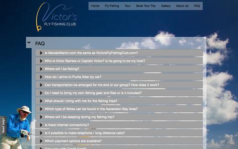 Screenshot of FAQ Page victorsflyfishingclub.com - FAQ | Victor's Fly Fishing Club - captured Oct. 7, 2014