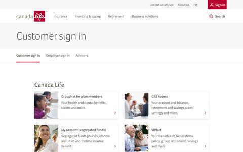 Screenshot of Login Page canadalife.com - Sign in - captured Nov. 30, 2019