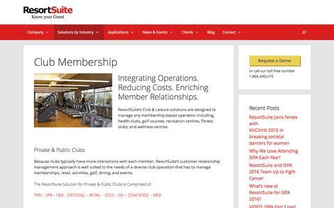 Club Membership | ResortSuite