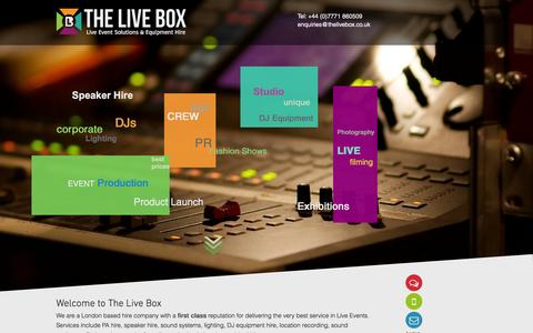 Screenshot of Home Page thelivebox.co.uk - The Live Box   Speaker Hire London   PA Hire London   Services - captured Feb. 25, 2016