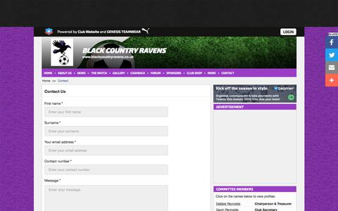 Screenshot of Contact Page blackcountryravens.co.uk - Contact | Black Country Ravens - captured June 28, 2018