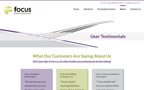 Screenshot of Testimonials Page focuscss.com - Testimonials - Focus Custom Sourcing Solutions - captured June 18, 2017