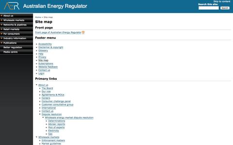 Screenshot of Site Map Page aer.gov.au - Site map | Australian Energy Regulator - captured Sept. 18, 2014