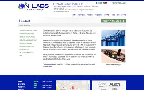 Screenshot of ionlabs.com - Services - Ion Labs - captured Oct. 4, 2015