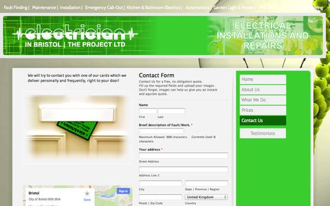 Screenshot of Contact Page electricianinbristol.co.uk - Contacts Electrician In Bristol - captured Oct. 2, 2014