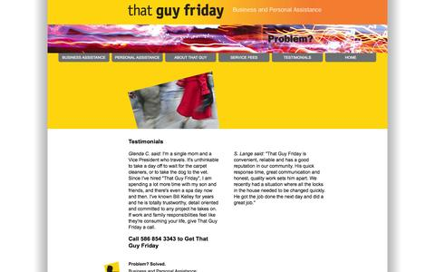 Screenshot of Testimonials Page thatguyfriday.com - Testimonials for That Guy Friday - personal and business assistant, household management, concierge and errands services in Birmingham, Bloomfield, Troy, Detroit - captured Oct. 26, 2014