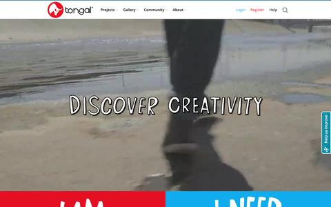 Screenshot of Home Page tongal.com - Create Original Video Content - TV Ads, YouTube, Branded & Social Videos - captured Feb. 6, 2016