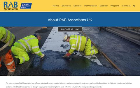 Screenshot of About Page rab-associates.co.uk - About RAB Associates – RAB – The UK Expansion Joint Company - captured Oct. 18, 2018