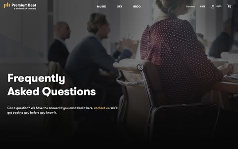Screenshot of FAQ Page premiumbeat.com - Frequently Asked Questions - captured Dec. 11, 2017