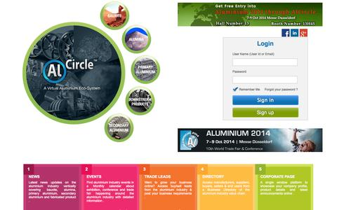 Screenshot of Home Page alcircle.com - A Virtual Aluminium Ecosystem: Find aluminium news, events, aluminium blog, interview, business leads, directory and aluminium price - captured Sept. 19, 2014