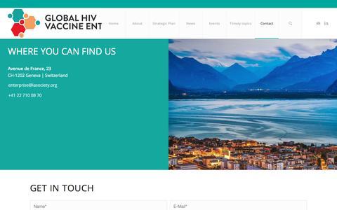 Screenshot of Contact Page vaccineenterprise.org - Contact – The Global HIV Vaccine Enterprise - captured Jan. 21, 2020