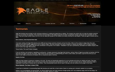 Screenshot of Testimonials Page eaglewebs.co.uk - Eagle Web Solutions, web design in Bromsgrove and Redditch | Eagle Web Solutions - captured March 25, 2016
