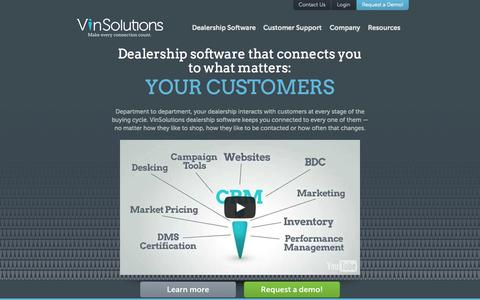 Screenshot of Home Page vinsolutions.com - VinSolutions - Auto Dealership Management and Sales Software - captured Oct. 1, 2015