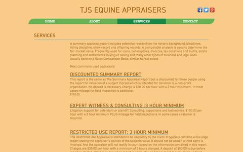 Screenshot of Services Page tjsequineappraisers.com - tjsequineappraisers | SERVICES - captured Dec. 20, 2016