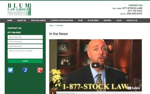 Screenshot of Press Page stockattorneys.com - In the News :: New York Securities Attorney Blum Law Group - captured Oct. 10, 2017