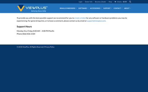 Screenshot of Support Page viewplus.com - Contact Viewplus support for all software or hardware problems. | ViewPlus - captured Nov. 16, 2018