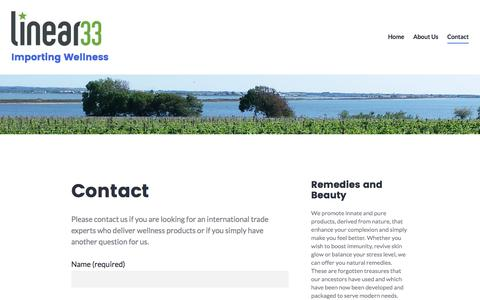 Screenshot of Contact Page linear33.com - Contact – Importing Wellness - captured Aug. 15, 2017