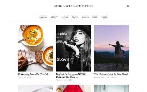 Screenshot of Blog bloglovin.com - Bloglovin'—the Edit - captured Feb. 14, 2016