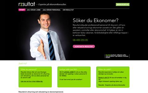 Screenshot of Home Page resultatab.se - Start - Resultat - captured Oct. 8, 2014