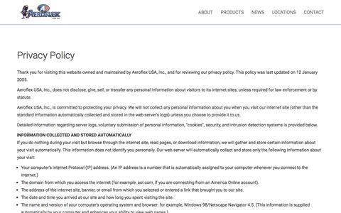 Screenshot of Privacy Page aeroflexusa.com - Privacy Policy - Aeroflex USA Inc - captured May 29, 2017