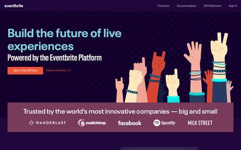 Screenshot of Developers Page eventbrite.com - Eventbrite Platform - captured Jan. 18, 2019
