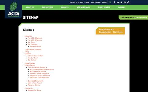 Screenshot of Site Map Page acdi.com - Sitemap - ACDI - captured Oct. 6, 2017