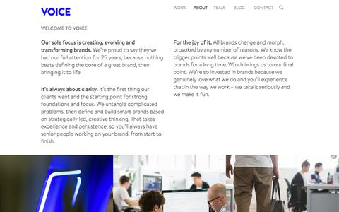 Screenshot of About Page voicebrandagency.com - Voice | Specialist Brand Agency - captured Sept. 21, 2018