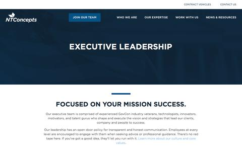 Screenshot of Team Page ntconcepts.com - Executive Leadership | Focused on Your Mission Success - captured Sept. 19, 2018
