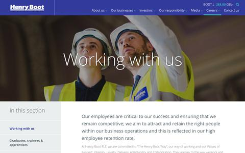 Screenshot of Jobs Page henryboot.co.uk - Working with us | Henry Boot - captured Sept. 28, 2018