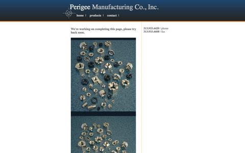 Screenshot of Products Page perigeemfg.com - Perigee Manufacturing Co., Inc. | Manufacturers of hexagon nuts, milled from bar - captured Oct. 2, 2014