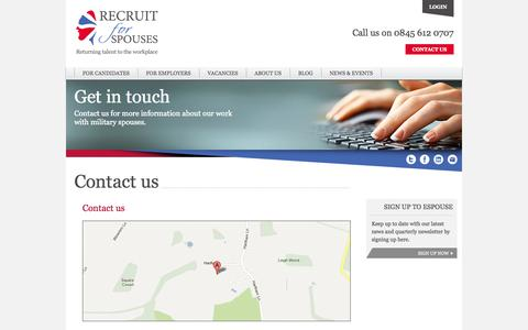 Screenshot of Contact Page recruitforspouses.co.uk - Contact us - Recruit for Spouses - captured Oct. 7, 2014
