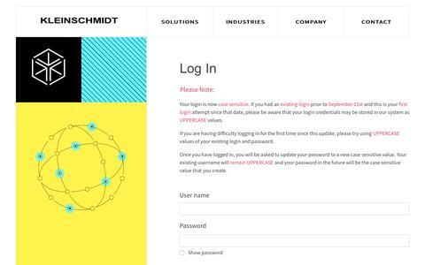 Screenshot of Login Page kleinschmidt.com - KleinschmidtWebsite - captured Nov. 6, 2018