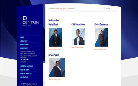 Screenshot of Testimonials Page centum.co.ke - Testimonials - captured Sept. 24, 2014