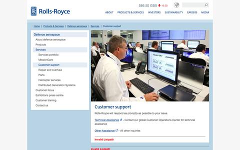 Screenshot of Support Page rolls-royce.com - Customer support – Rolls-Royce - captured Dec. 29, 2015