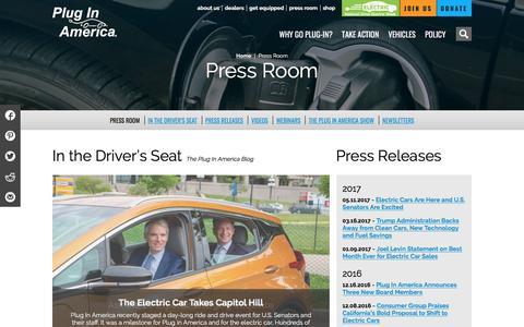 Screenshot of Press Page pluginamerica.org - Press Room - Plug In AmericaPlug In America - captured May 19, 2017