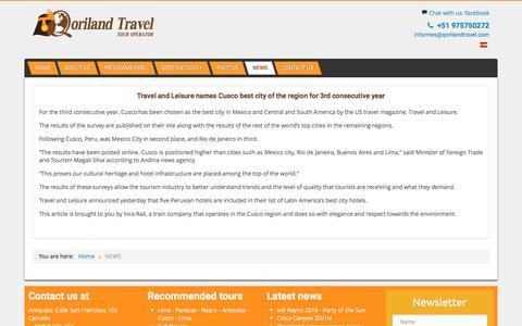 Screenshot of Press Page qorilandtravel.com - NEWS - captured May 10, 2017