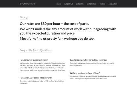 Screenshot of Pricing Page ohioautohaus.com - Ohio Autohaus - Pricing - captured Sept. 30, 2014