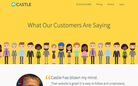 Screenshot of Testimonials Page entercastle.com - Testimonials | Castle: A new approach to property management - captured Jan. 26, 2016