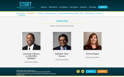 Screenshot of Team Page startny.org - Leadership Team | START Treatment & Recovery Centers - captured Sept. 30, 2017