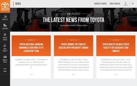 Screenshot of Press Page toyotaforklift.com - News | Toyota Forklifts - captured June 4, 2016
