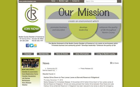 Screenshot of Press Page rankinchamber.com - News - News-PublicLayout - Rankin County Chamber of Commerce, MS - captured Nov. 29, 2016